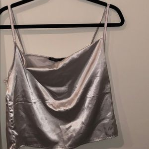 Silver cowl neck NastyGal crop top